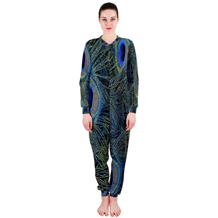 Peacock Feathers Blue Bird Nature OnePiece Jumpsuit (Ladies)