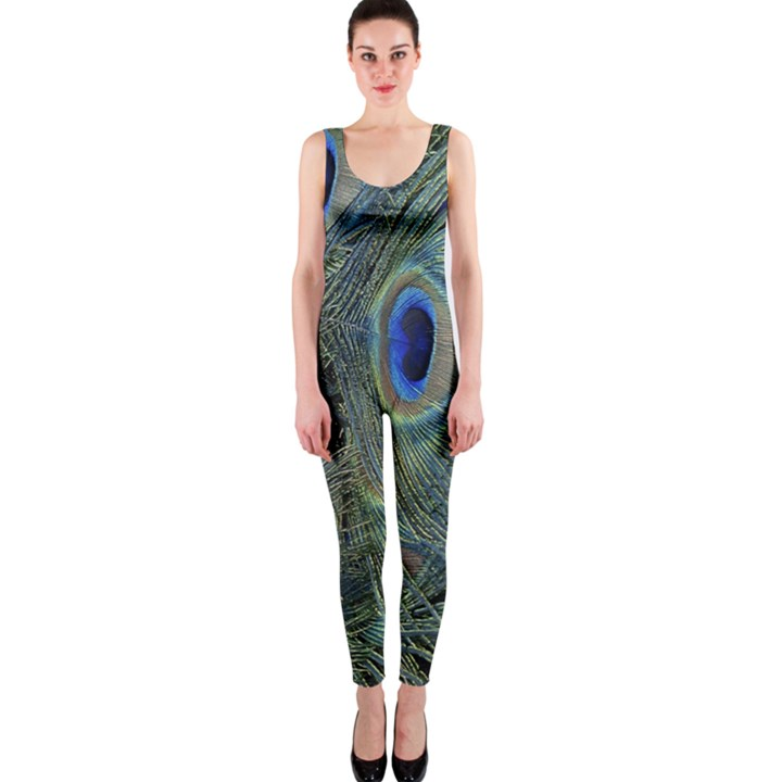 Peacock Feathers Blue Bird Nature OnePiece Catsuit