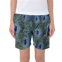 Peacock Feathers Blue Bird Nature Women s Basketball Shorts