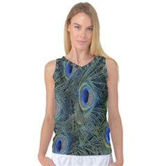 Peacock Feathers Blue Bird Nature Women s Basketball Tank Top