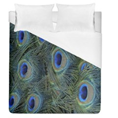 Peacock Feathers Blue Bird Nature Duvet Cover (queen Size)