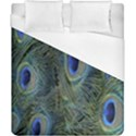 Peacock Feathers Blue Bird Nature Duvet Cover (California King Size) View1