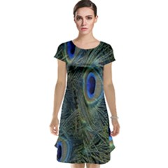 Peacock Feathers Blue Bird Nature Cap Sleeve Nightdress