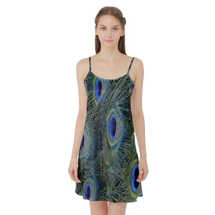 Peacock Feathers Blue Bird Nature Satin Night Slip