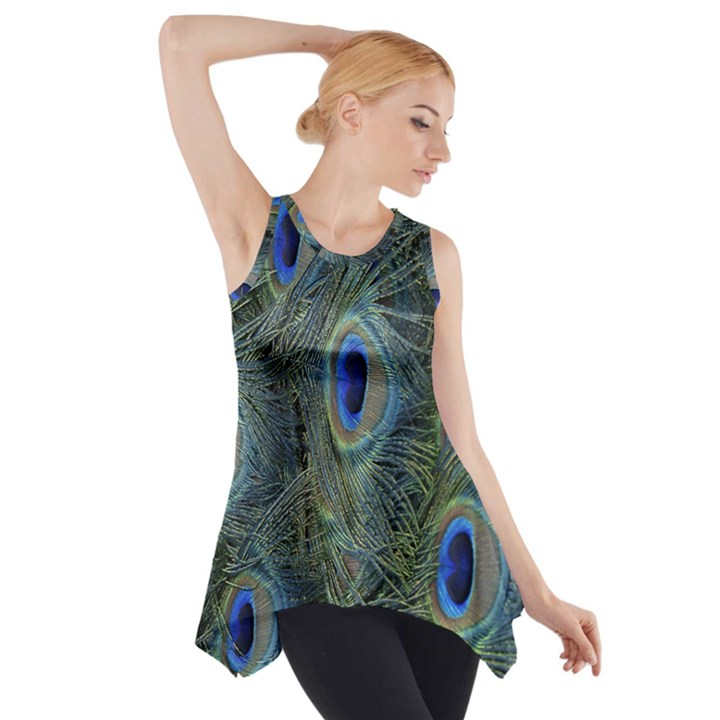 Peacock Feathers Blue Bird Nature Side Drop Tank Tunic