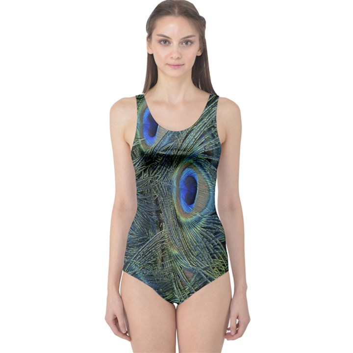 Peacock Feathers Blue Bird Nature One Piece Swimsuit