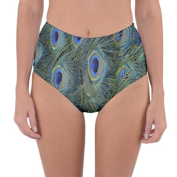 Peacock Feathers Blue Bird Nature Reversible High-Waist Bikini Bottoms