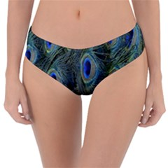 Peacock Feathers Blue Bird Nature Reversible Classic Bikini Bottoms