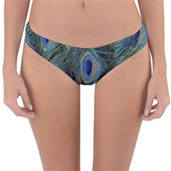 Peacock Feathers Blue Bird Nature Reversible Hipster Bikini Bottoms
