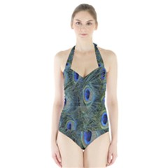 Peacock Feathers Blue Bird Nature Halter Swimsuit