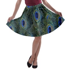 Peacock Feathers Blue Bird Nature A Line Skater Skirt
