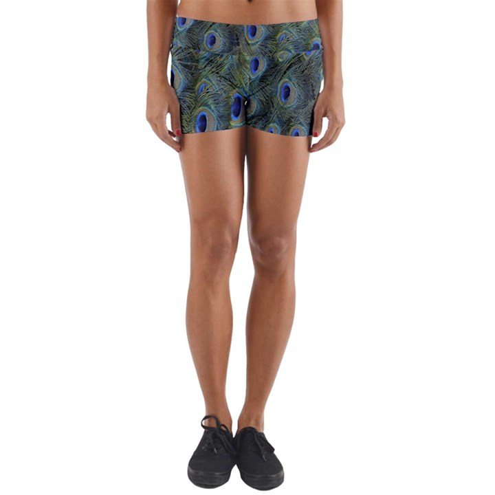 Peacock Feathers Blue Bird Nature Yoga Shorts