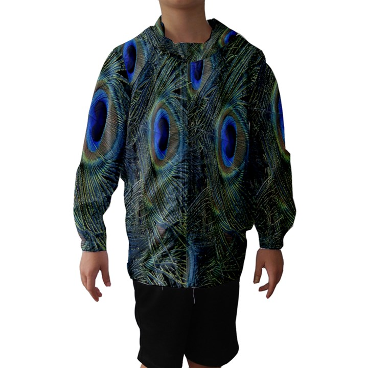 Peacock Feathers Blue Bird Nature Hooded Wind Breaker (Kids)