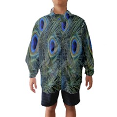 Peacock Feathers Blue Bird Nature Wind Breaker (kids)