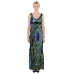 Peacock Feathers Blue Bird Nature Maxi Thigh Split Dress