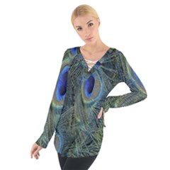 Peacock Feathers Blue Bird Nature Tie Up Tee