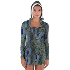 Peacock Feathers Blue Bird Nature Long Sleeve Hooded T Shirt