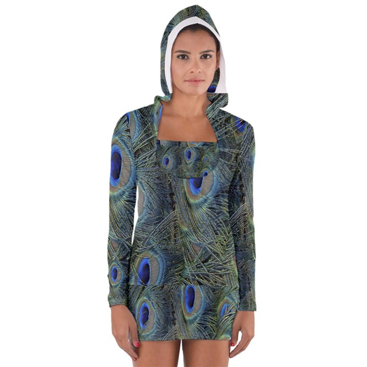 Peacock Feathers Blue Bird Nature Long Sleeve Hooded T-shirt