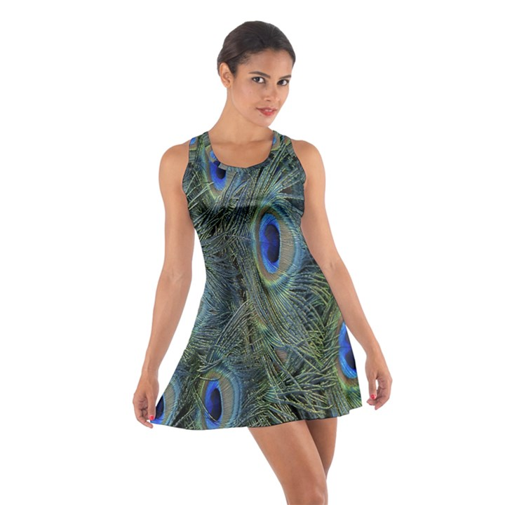 Peacock Feathers Blue Bird Nature Cotton Racerback Dress