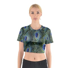 Peacock Feathers Blue Bird Nature Cotton Crop Top