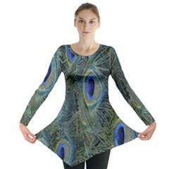 Peacock Feathers Blue Bird Nature Long Sleeve Tunic