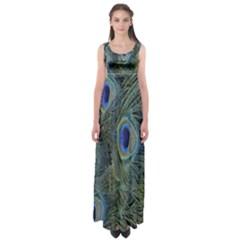 Peacock Feathers Blue Bird Nature Empire Waist Maxi Dress
