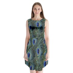 Peacock Feathers Blue Bird Nature Sleeveless Chiffon Dress
