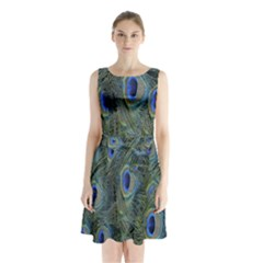 Peacock Feathers Blue Bird Nature Sleeveless Waist Tie Chiffon Dress