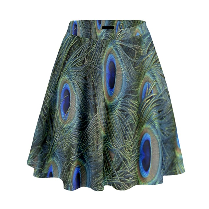 Peacock Feathers Blue Bird Nature High Waist Skirt