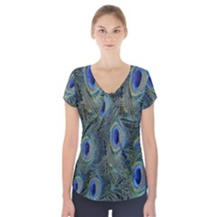 Peacock Feathers Blue Bird Nature Short Sleeve Front Detail Top