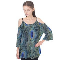 Peacock Feathers Blue Bird Nature Flutter Tees