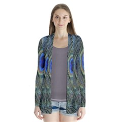 Peacock Feathers Blue Bird Nature Drape Collar Cardigan