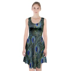 Peacock Feathers Blue Bird Nature Racerback Midi Dress