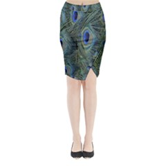 Peacock Feathers Blue Bird Nature Midi Wrap Pencil Skirt