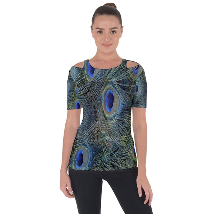 Peacock Feathers Blue Bird Nature Short Sleeve Top