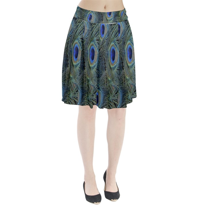 Peacock Feathers Blue Bird Nature Pleated Skirt