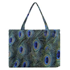 Peacock Feathers Blue Bird Nature Zipper Medium Tote Bag