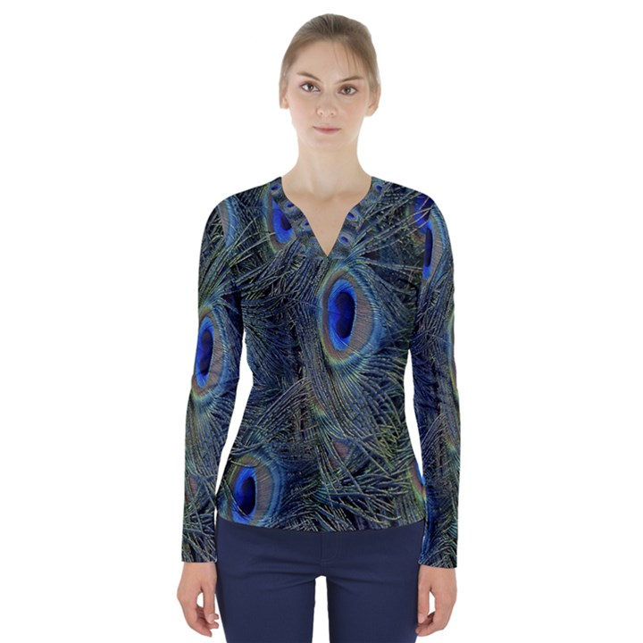 Peacock Feathers Blue Bird Nature V-Neck Long Sleeve Top