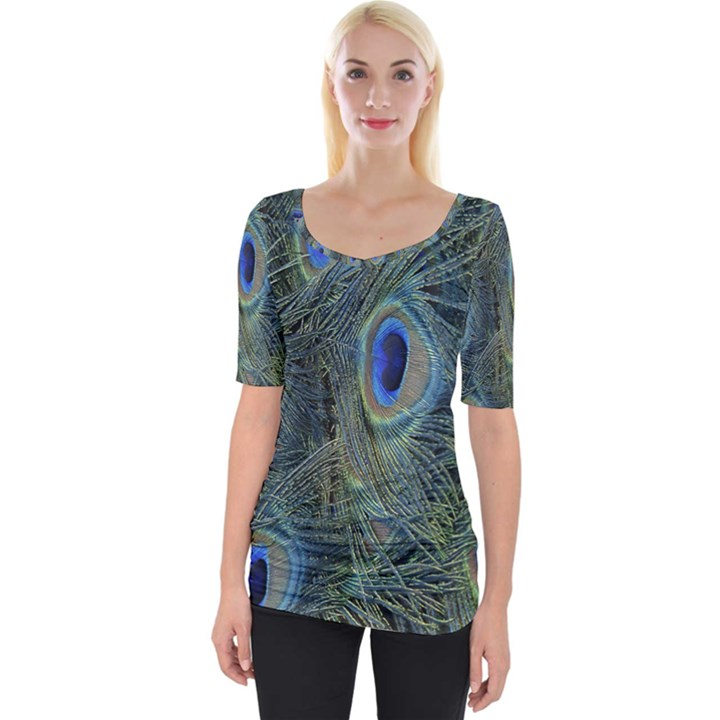 Peacock Feathers Blue Bird Nature Wide Neckline Tee