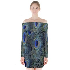 Peacock Feathers Blue Bird Nature Long Sleeve Off Shoulder Dress