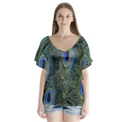 Peacock Feathers Blue Bird Nature V Neck Flutter Sleeve Top