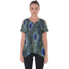 Peacock Feathers Blue Bird Nature Cut Out Side Drop Tee