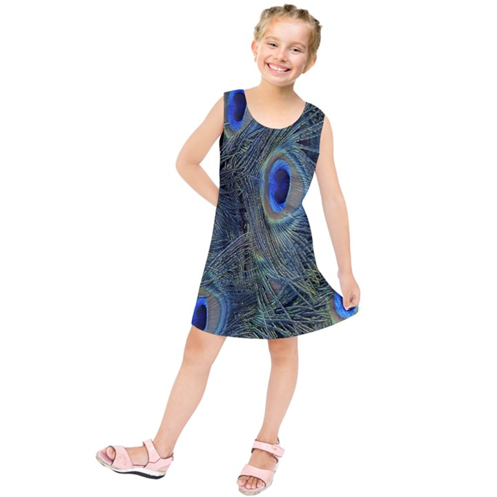 Peacock Feathers Blue Bird Nature Kids  Tunic Dress