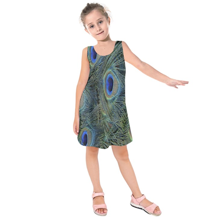 Peacock Feathers Blue Bird Nature Kids  Sleeveless Dress