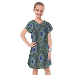 Peacock Feathers Blue Bird Nature Kids  Drop Waist Dress