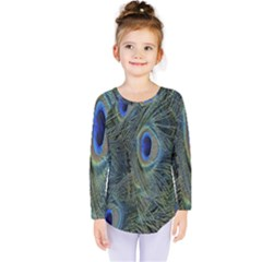 Peacock Feathers Blue Bird Nature Kids  Long Sleeve Tee