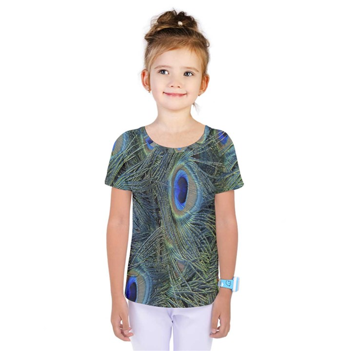 Peacock Feathers Blue Bird Nature Kids  One Piece Tee