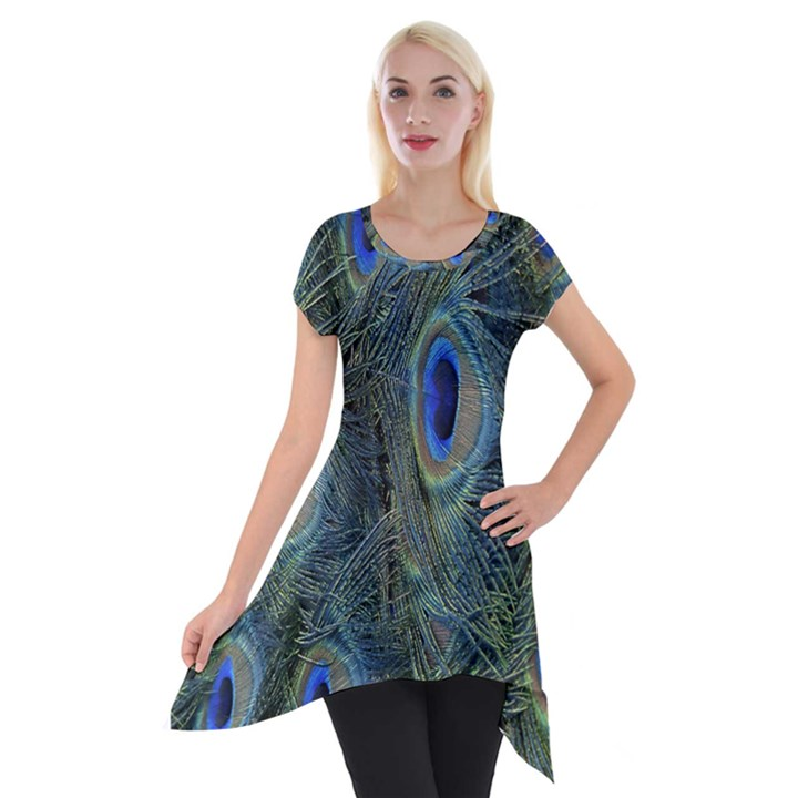 Peacock Feathers Blue Bird Nature Short Sleeve Side Drop Tunic