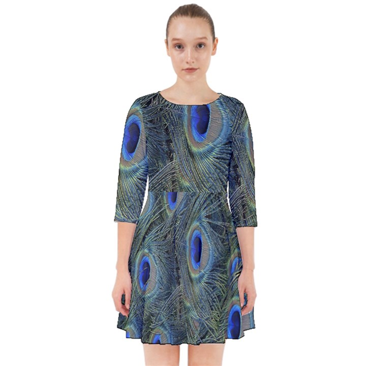 Peacock Feathers Blue Bird Nature Smock Dress