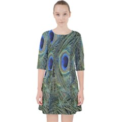 Peacock Feathers Blue Bird Nature Pocket Dress